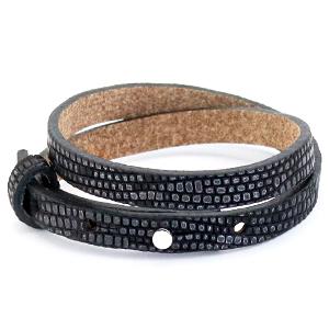 Cuoio armband croco 8mm black silver dubbel