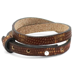 Cuoio armband croco 8mm colonial brown gold