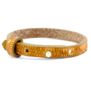 Cuoio armband croco 8mm golden harvest