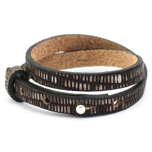 Cuoio armband croco 8mm hickory brown silver dubbel
