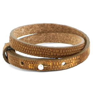 Cuoio armband croco 8mm tabacco brown gold