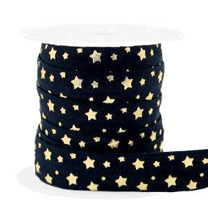 Elastisch Ibiza lint 15mm stars black gold