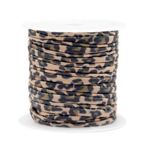 Elastisch Ibiza lint 4mm leopard beige brown