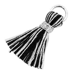 Ibiza kwastje 18mm zwart wit zilver