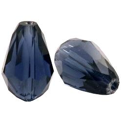 Top facet kraal druppel 10x15mm montana blue