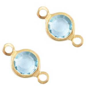 Tussenstuk crystal glas aqua bleu gold