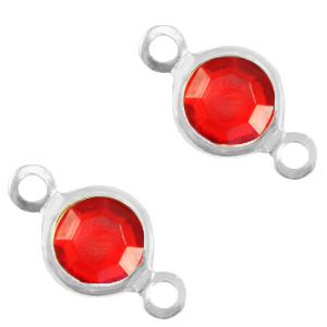 Tussenstuk crystal glas rond salsa red silver