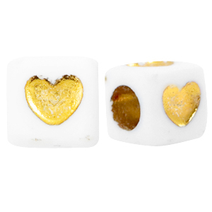 Letterkaal kubus hart wit goud