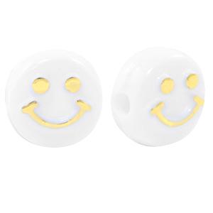 Letterkraal smiley wit goud